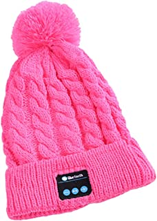 GLJJQMY Fashion Knit Hat Wireless Headset Bluetooth Cap Easy to Remove and Wash Bluetooth Earphone (Color : Pink)