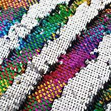 Sequin Fabric Mermaid Fabric 5mm Glitter Fabric 1 Yard Rainbow to Silver Two Tone Sequin Fabric Sparkly Fabric by The Yard Mesh Fabric Reversible Sequin Fabric Great for Dress Wedding DIY