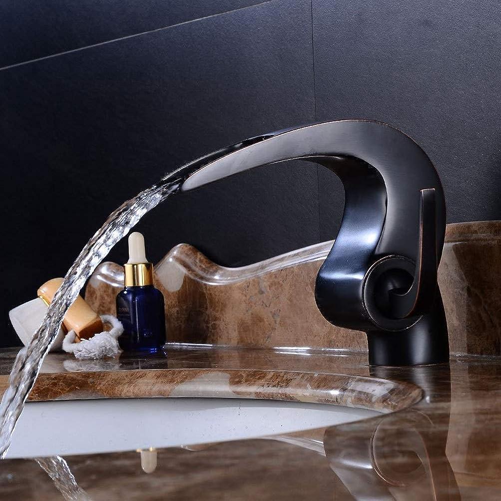 個性ヘリコプター一掃するZJN-JN 蛇口 蛇口が美しく、耐久性のあるミキシングブラックバスルーム洗面台のフル銅曲線の蛇口温水と冷水空調レトロホームホテルレンチタイプ 台付