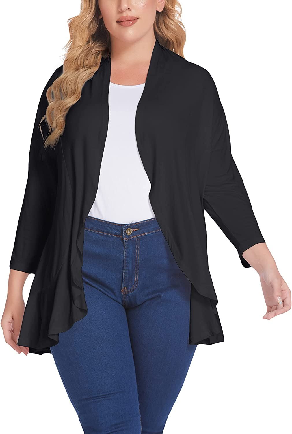IN'VOLAND Women's Plus Size Cardigan Casual Open Front Cardigan 3/4 Sleeve Draped Ruffles Soft Knit Sweaters