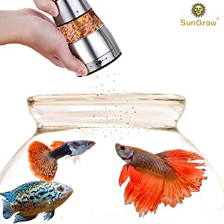 SunGrow Betta Food Grinder, 4.5-inches (Height) by 2.6-inches (Width), Crusher and Dispenser for Food Pellets and Flakes, Stainless Steel Body, Durable