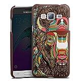 DeinDesign Cover kompatibel mit Samsung Galaxy J3 Duos 2016 Lederhülle braun Leder Hülle Leder Handyhülle Bison Pattern Muster