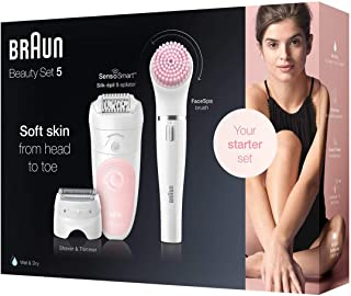 Silk-epil Beauty Set 5 5/885 BS Wet & Dry epilator with 3 extras including Braun FaceSpa