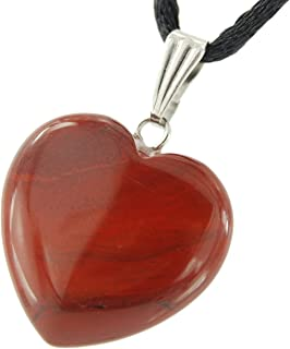 Big Heart Collection - 20mm Classic Red Jasper - 20-22 inch Black Cord – Crystal Gemstone Carved Necklace Charm Handmade
