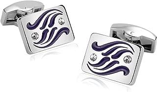 Cufflinks-Men's Stainless Steel Square Irregular Lines Zirconia Cuff Links