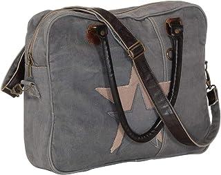 vidaXL vidaXL Handtasche Schultertasche Umhängetasche Ledertasche Laptoptasche Einkaufstasche Tragetasche Tasche Dunkelgrau 40x54cm Segeltuch Echtleder