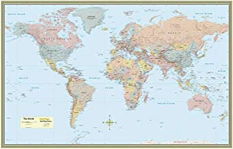 World Map Poster (32 x 50 inches) - Laminated: - a QuickStudy Reference