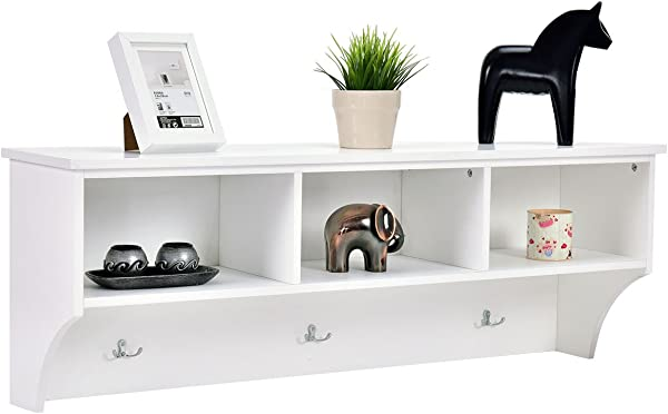 Giantex 48 Hanging Entryway Cubbie Storage Shelf W Hooks Wall Mounted Floating Media Storage Cabinet Coat Rack White