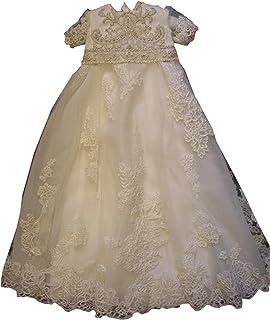 Newdeve Baby-Girls Lace Christening Gowns Round Neck Rhinestone Dark Ivory Baptism Dress