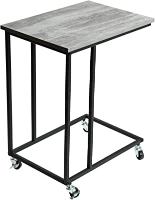 Adeco Side Table Mobile End Table Wooden Style Table Top Accent Furniture With