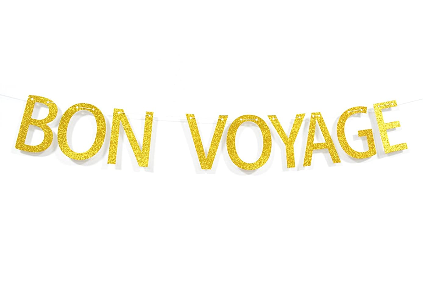 Qttier? Bon Voyage Gold Glitter Letters Banner Going Away Cruise Celebration Moving Away Party Decorations