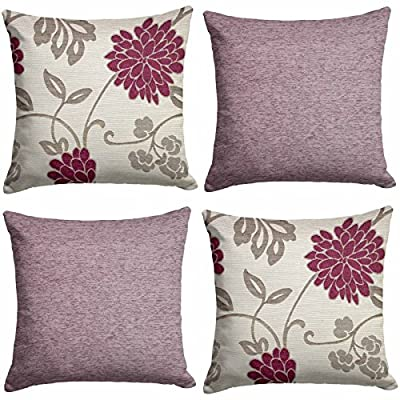 Set Of 4 Floral Cushion Covers Teal And Chenille Pla45 in 18 X 18 45cm X 45cm