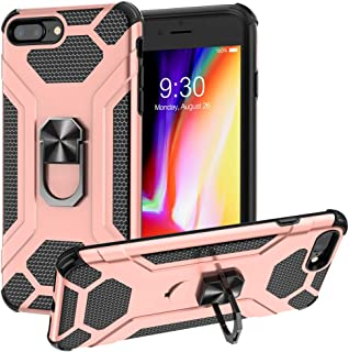 Heavy Duty Case for Iphone 7 Plus/8 Plus, Case Hard PC Soft Bumper Protective Phone Case, Ring Holder For Iphone 7 Plus/8 Plus(5.5 inch) Cover Strong Guard Protection Case Shock Proof (Rose Gold)