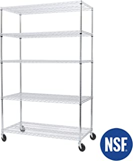 "Seville Classics UltraDurable Commercial-Grade 5-Tier NSF-Certified Steel Wire Shelving with Wheel, 48"" W x 24"" D x 72"" H"