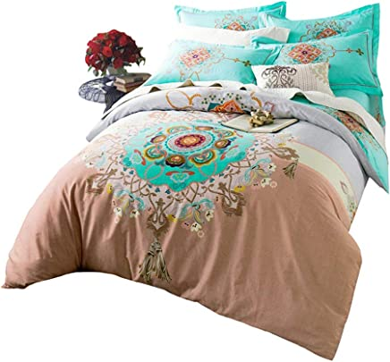 Abreeze 100% Cotton Duvet Cover Sets,  Teal Bohemian Bedding Set Queen 4PCS