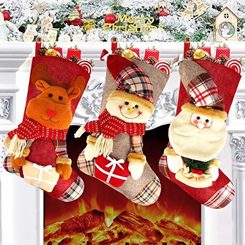 Chaussette de Noel, 3pcs Grande Chaussette Noel a Suspendre Père Noël Bonhomme de Neige Renne Sac Cadeau, Cartoon Décoration de Noël pour Arbre Cheminée Vitrine et Sac de Bonbons