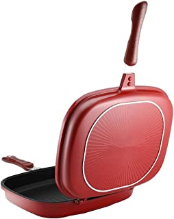 HUALAI 直火式 電気ストーブ ガス火用 両面焼き IH・直火両用対応 お手入れ簡単 洗いやすい 熱電導率が高 く焼きムラなし お手入れ簡単 ノンスティック軽量 アウトドア BBQ 家庭用 (28cm-H)