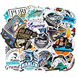 Fishing Stickers, Waterproof Vinyl Stickers and Decals for Water Bottles, Cars, Trucks, Scrapbooking, Laptops, Fishing Club Gifts, 50pcs