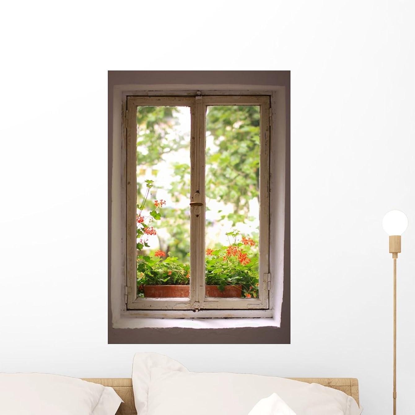Wallmonkeys WM199818 Window to The Garden Peel and Stick Wall Decals (24 in H x 16 in W), Medium