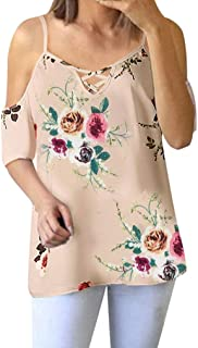 Blouses for Womens, FORUU Floral Off Shoulder Short Sleeve Casual Tops T Shirts