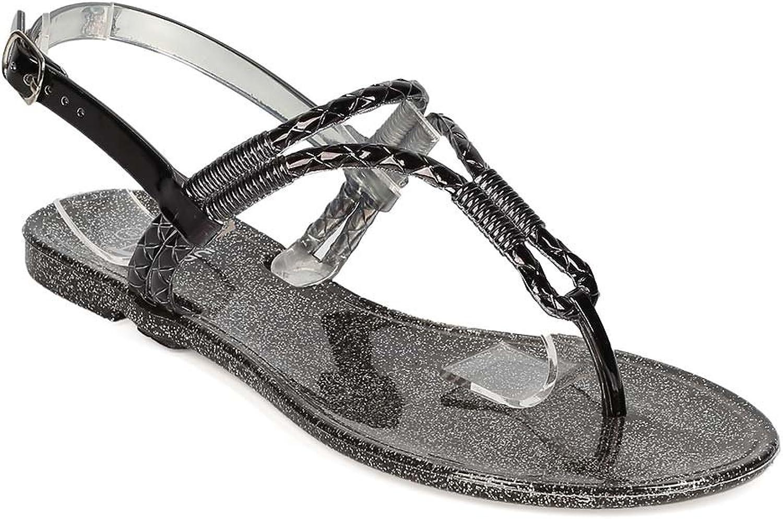 BETANI EH62 Women PVC Metallic Glitter T-Strap Slingback Flat Sandal - Black