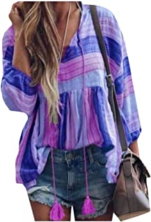 Suncolor8 Womens Drawstring Casual Long Sleeve Stripe Loose Blouse Top T-Shirt