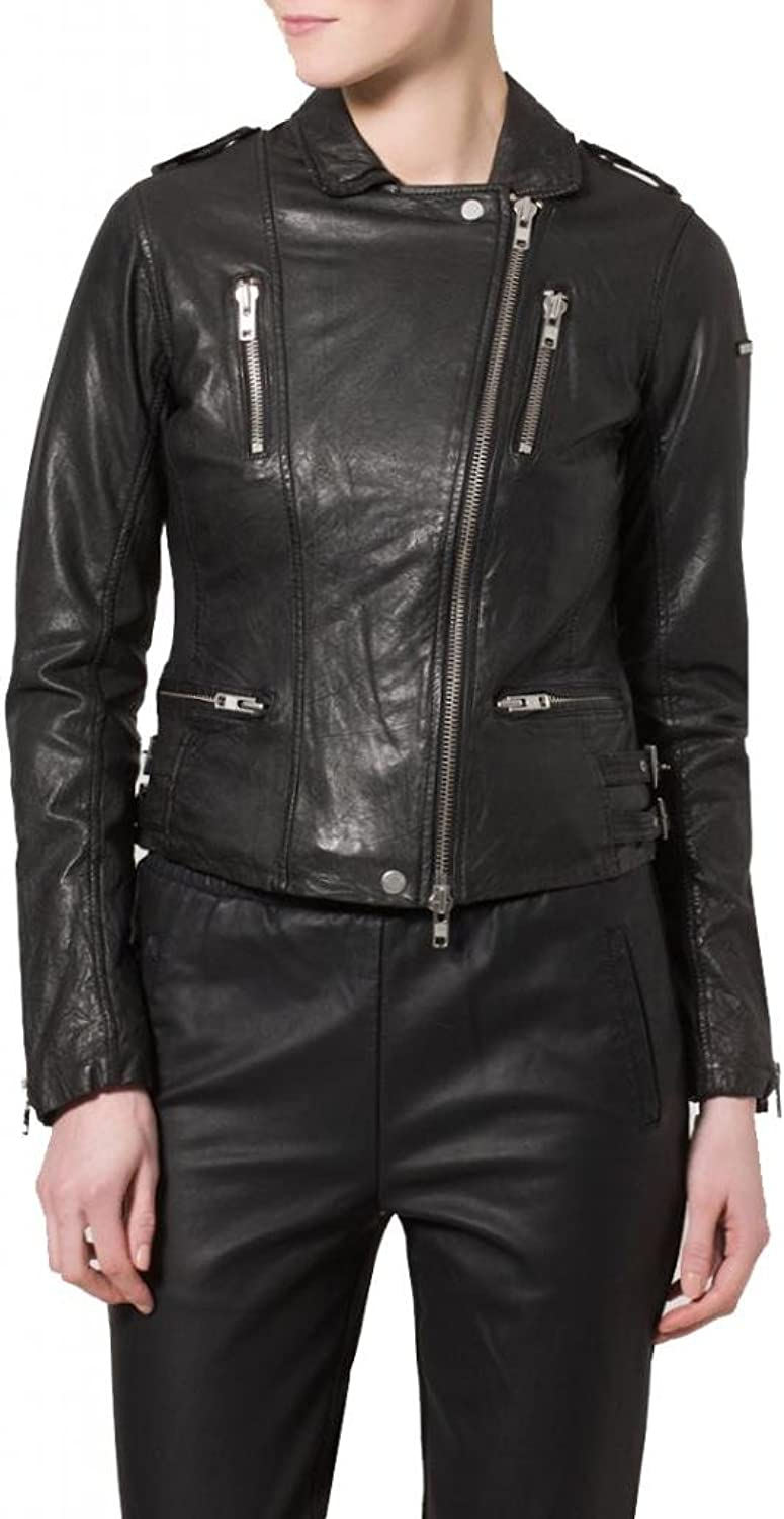 Women's Soft Ladies REAL Leather Stylish Fitted BIKER Jacket W140