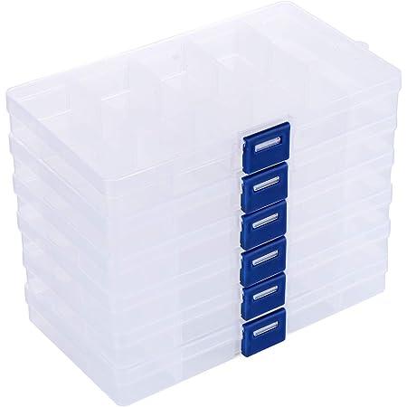 ilauke 6Pcs Boîte De Rangement en Plastique Transparent Boîte de Organisateur avec Compartiments Ajustables Contenants de Rangement pour Boucles d'oreilles, Collier, Pilules à Usages
