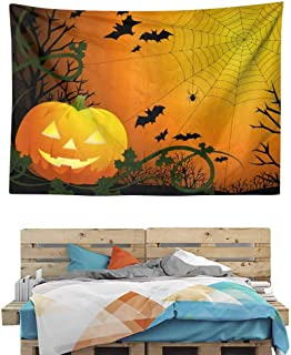 HuaWuChou Pumpkin Leaves Bats Tapestry, Wall Hanging Tapestries Mysterious Wall Tapestry for Home Decor, 80W x 59L Inches
