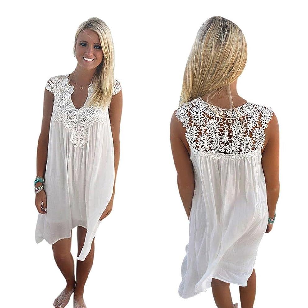 Women Dress, Sexy Sunmer Dress for Women Boho Sleeveless Womens Loose Summer Beach Lace Dress