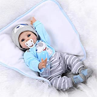 OCSDOLL Reborn Baby Doll Boy Look Real Silicone Blue Outfit 22 Inches
