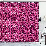 ABAKUHAUS H&e Duschvorhang, Bullterrier-H&eköpfe auf Rosa, mit 12 Ringe Set Wasserdicht Stielvoll Modern Farbfest & Schimmel Resistent, 175x200 cm, Hot Pink Schwarz