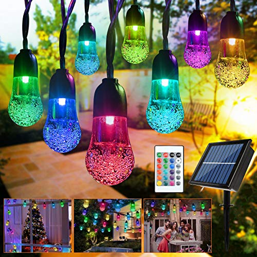 Beinhome Solar String Lights Outdoor, 20 LED Waterproof Garden Lights 16.4ft 8 Mode Remote Control Fairy Lights, Crystal Ball Decorative Lighting for Patio Yard Home Tree Wedding Party (Multicolor)