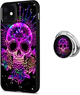 iPhone 11 Case with Holder Buckle Designed Purple Sugar Skull Black TPU Antiskid Tread Case 360°Rotatable Silvery Ring Stand for iPhone 11