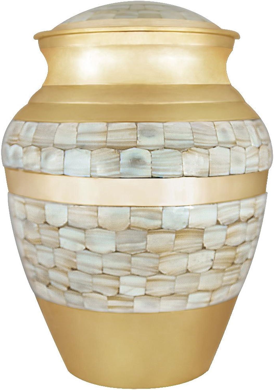 Bestattung der Beerdigung Urne für Erwachsene - handgefertigt aus Messing & Hand Engraved - Anzeige Burial Urn zu Hause oder in Niche in Columbarium ( Mutter der Perle Urne
