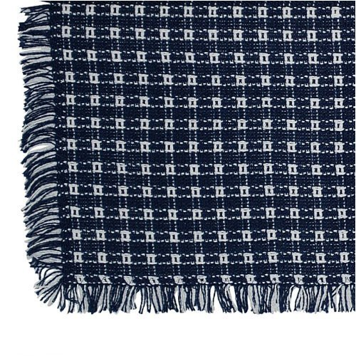 70 x 120 (Rectangle) Homespun Tablecloth, Hand Loomed, 100% Cotton, Made in USA, Navy/White