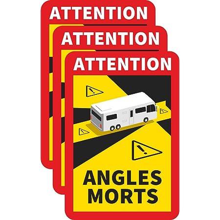 3 Stück Attention Angles Morts Magnetschilder 25 X 17 Cm Magnet Für Lkw Und Wohnwagen Warntafel Hinweiszeichen Schild Frankreich Mit Uv Schutz Auto