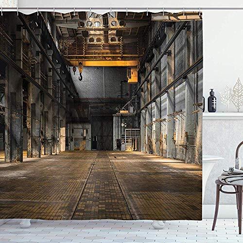 FANCYDAY Industriële Decor Collectie, Industriële Interieur van een Oude Fabriek Bouw Spookachtige Magazijn Print, Mosterd Grijs