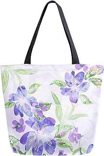 Mnsruu Mnsruu Handtasche aus Segeltuch, für Damen, mit Griff, Einkaufstasche, Sommerblumen, lila, Freizeittasche, Strandtasche, Multifunktionstasche für Damen