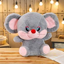 Plush Toys, Big-eyed Mice, Creative Cute Doll Pillow, Air-conditioning Blanket Two-in-one, Girl Birthday Present 40 x 35 cm Pink Rat Doll (Color : Grey Rat Doll, Size : 40 x 35 cm)