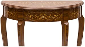 Consolle a mezza luna in legno massello intarsiato stile classico Misure: 80x40x78 H cm