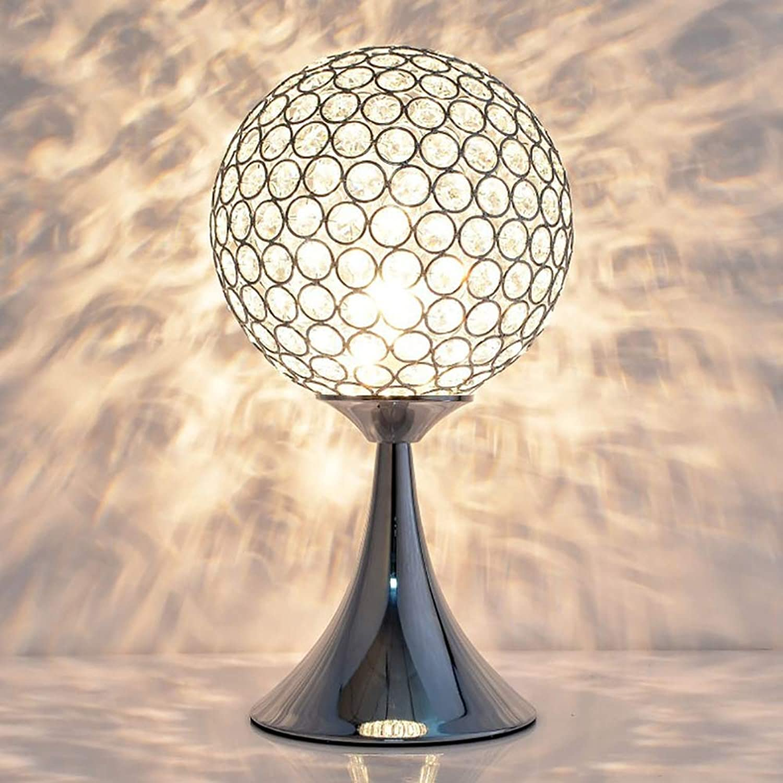 HHCC Kristall Nachttischlampen, Europische Einfache Design Kristall Nachttisch Schreibtischlampe, Kristall Lichter für Wohnzimmer Esszimmer Küche Schlafzimmer Beleuchtung Dekor E27