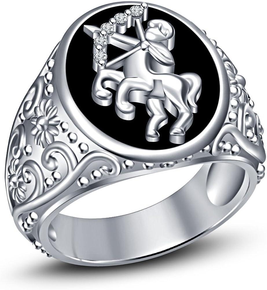 Moda Vorra mes 925 plata plateado platino de esmalte negro RD blanco Cz anillo de los hombres de Zodiaco Sagitario