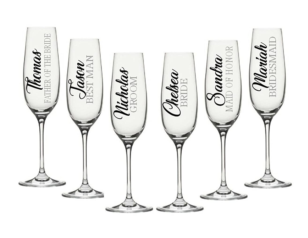 Wedding Party Decals. Champagne Flute Decals. Customize the color, name, and title. Decals Only. Perfect for your wine glasses, flasks, Yeti cups, bridesmaids gift, water bottle, etc.