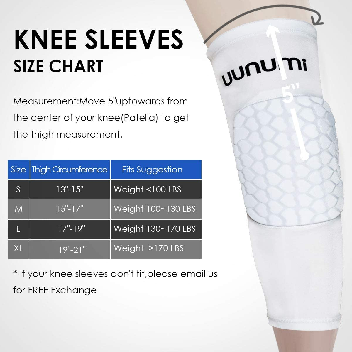 uunumi Basketball Knee Pads, 1 Pair Youth Adult Volleyball Wrestling Kneepad Non-Slip Compression Leg Sleeve Protector Gear : Sports & Outdoors