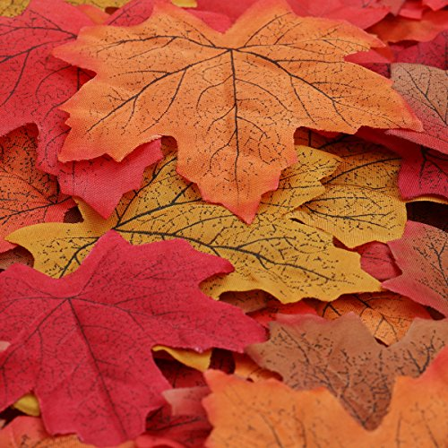 Luxbon - Approx. 150pcs Artificial Autumn Fall Maple Leaves Autumn Colors - Great Autumn Table Scatters for Fall Weddings & Autumn Parties