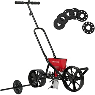 "Cirocco Garden Seeder Spreader Row Planter | Heavy Duty Support 20 Seeds Types 6 Interchangeable Seed Plates 30"" Wheel Uniform Planting Ergonomic Grip Stabilized Success Germination 