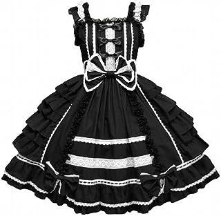 コスプレ衣装  lolita ロリータ ゴシック風洋装 大きいサイズワンピース  ハロウィーン コスチューム イベント 変身 変装 キャラクター (XXLサイズ, ブラック)