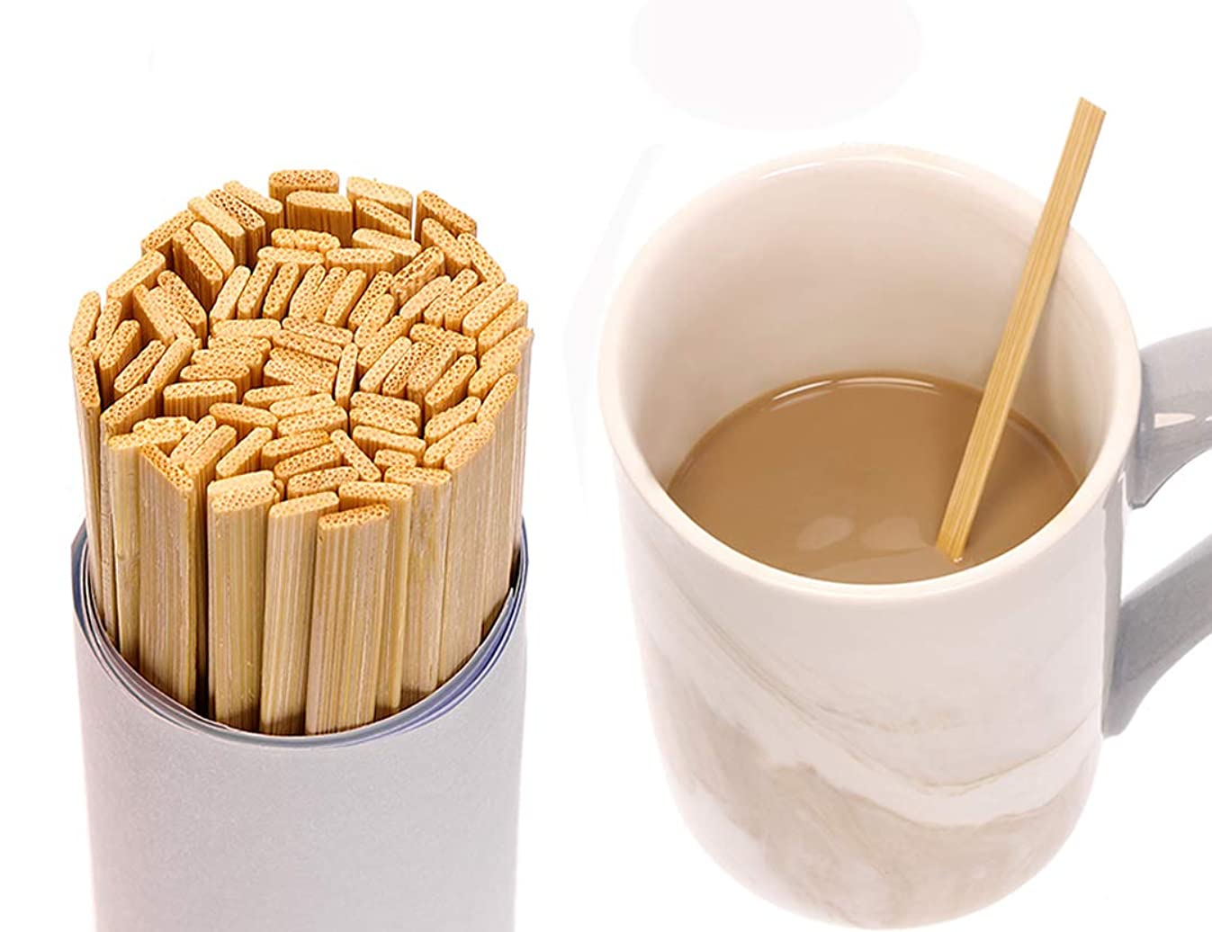 Mini Skater 5.4 Inch Bamboo Coffee Stirrers Eco Friendly Biodegradable Stir Sticks for Tea Hot Cold Beverages (100)