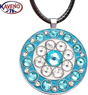 kaveno Golf Ball Marker Necklace with Magnetic Four Leaf Clover Pendant, Great Gift for Women